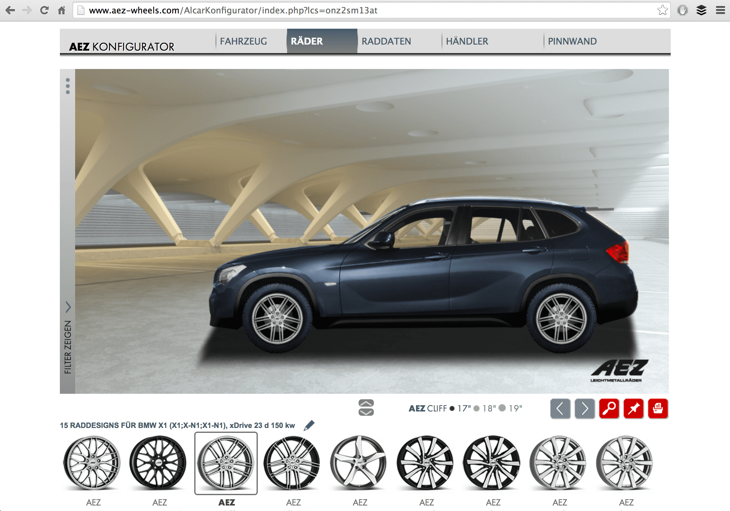 aez wheels 3d konfigurator. Black Bedroom Furniture Sets. Home Design Ideas