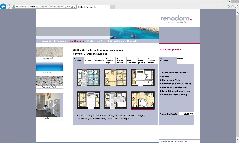 renodom 3d konfigurator. Black Bedroom Furniture Sets. Home Design Ideas