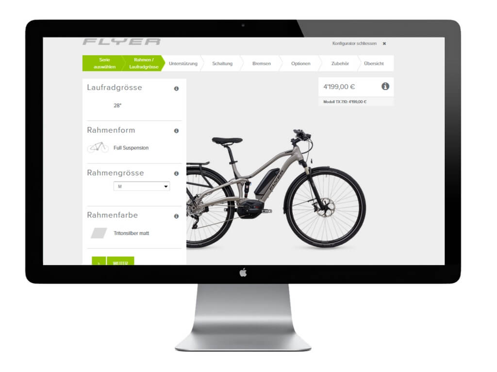 E-Bike Konfigurator von Flyer, Screenshot